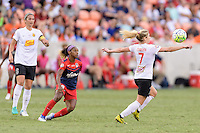 Houston, TX - Sunday Oct. 09, 2016: Crystal Dunn, McCall Zerboni during the National Women's Soccer League (NWSL) Championship match between the Washington Spirit and the Western New York Flash at BBVA Compass Stadium. The Western New York Flash win 3-2 on penalty kicks after playing to a 2-2 tie.