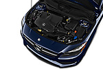 Car stock 2019 Mercedes Benz CLA CLA250 5 Door SUV engine high angle detail view