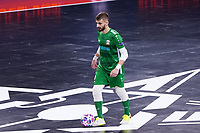 9th October 2020; Palau Blaugrana, Barcelona, Catalonia, Spain; UEFA Futsal Champions League Finals; Mrucia FS versus MFK Tyumen; Goalkeeper  Gugiel of Mrucia comes forward out of his box with the ball