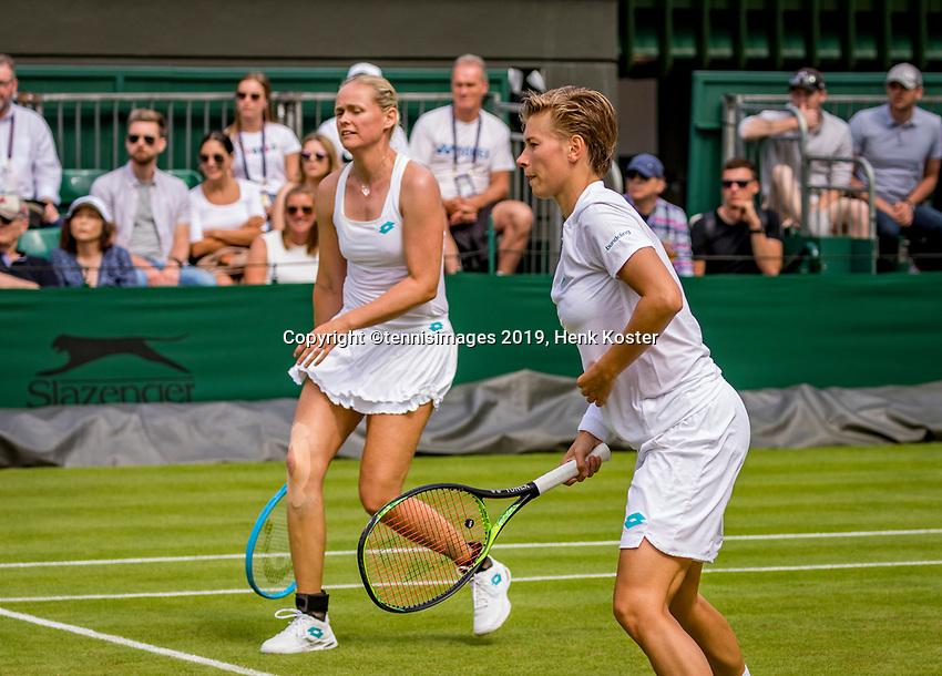 London, England, 8 July, 2019, Tennis,  Wimbledon, Women's doubles: Demi Schuurs (NED) and Anna-Lena Groenefeld (GER) (L)<br /> Photo: Henk Koster/tennisimages.com