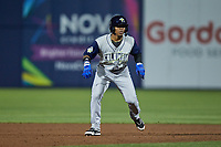 Juan Carlos Negret (15) of the Columbia Fireflies takes his lead off of second base against the Kannapolis Cannon Ballers at Atrium Health Ballpark on May 18, 2021 in Kannapolis, North Carolina. (Brian Westerholt/Four Seam Images)