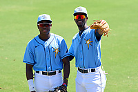 FCL Rays Yonathan Pierre (90) and Alejandro Pie (64) before a game against the FCL Twins on July 20, 2021 at Charlotte Sports Park in Port Charlotte, Florida.  (Mike Janes/Four Seam Images)