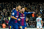 Lionel Andres Messi (R) of FC Barcelona celebrates his goal with teammate Luis Alberto Suarez Diaz during the Copa Del Rey 2017-18 Round of 16 (2nd leg) match between FC Barcelona and RC Celta de Vigo at Camp Nou on 11 January 2018 in Barcelona, Spain. Photo by Vicens Gimenez / Power Sport Images