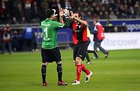 Torwart Oka Nikolov und Sotirios Kyrgiakos (Eintracht) klatschen ab<br /> Eintracht Frankfurt vs. Arminia Bielefeld, Commerzbank Arena<br /> *** Local Caption *** Foto ist honorarpflichtig! zzgl. gesetzl. MwSt. Auf Anfrage in hoeherer Qualitaet/Aufloesung. Belegexemplar an: Marc Schueler, Am Ziegelfalltor 4, 64625 Bensheim, Tel. +49 (0) 6251 86 96 134, www.gameday-mediaservices.de. Email: marc.schueler@gameday-mediaservices.de, Bankverbindung: Volksbank Bergstrasse, Kto.: 151297, BLZ: 50960101