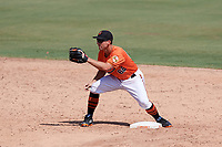 Baltimore Orioles second baseman Drew Dosch (66) waits for a warmup throw in between innings during an Instructional League game against the Atlanta Braves on September 25, 2017 at Ed Smith Stadium in Sarasota, Florida.  (Mike Janes/Four Seam Images)