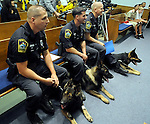 Three East Hartford canine officers look on during the East Hartford Town Hall ceremony, they are, officer Stephen Grossi, left, with his dog Oden who was injured Monday night during a suspect search, Officer Todd Mono with his dog Primo and Officer John Zavalick and his dog Alex, Tuesday, August 26, 2008, at East Hartford Town Hall. (Jim Michaud/Journal Inquirer)