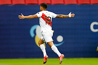 9th July 2021, Brasilia, Federal District, Brazil: Yotun of Peru celebrate their goal during match between Colombia and Peru for 3rd place in Copa America 2021, held at Mane Garrincha stadium, in Brasilia, Federal District