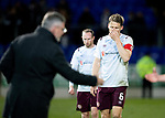 St Johnstone v Hearts…30.10.19   McDiarmid Park   SPFL<br />Christophe Berra who scored the own goal trudges off at full time<br />Picture by Graeme Hart.<br />Copyright Perthshire Picture Agency<br />Tel: 01738 623350  Mobile: 07990 594431
