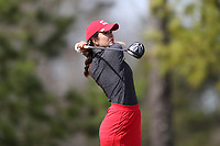 WALLACE, NC - MARCH 09: Katerina Doleckova of Boston University tees off on the 14th hole of the River Course at River Landing Country Club on March 09, 2020 in Wallace, North Carolina.