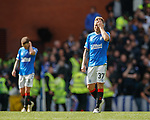 01.09.2019 Rangers v Celtic: Dejection from Rangers as Scott Arfield reacts after goal no 2