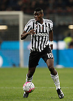 Calcio, Serie A: Milan vs Juventus. Milano, stadio San Siro, 9 aprile 2016. <br /> Juventus' Paul Pogba in action during the Italian Serie A football match between AC Milan and Juventus at Milan's San Siro stadium, 9 April 2016.<br /> UPDATE IMAGES PRESS/Isabella Bonotto
