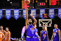 Dion Prewster of the Wellington Saints shoots the ball during the round two NBL match between the Wellington Saints and the Southland Sharks at TSB Bank Arena, Wellington, New Zealand on Friday 7 May 2021.<br /> Photo by Masanori Udagawa. <br /> www.photowellington.photoshelter.com