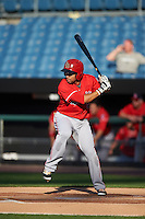 Louisville Bats shortstop Hernan Iribarren (2) at bat during a game against the Syracuse Chiefs on June 6, 2016 at NBT Bank Stadium in Syracuse, New York.  Syracuse defeated Louisville 3-1.  (Mike Janes/Four Seam Images)
