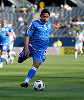 El Salvador's Victor Turcios clears the ball.  El Salvador defeated Cuba 6-1 at the 2011 CONCACAF Gold Cup at Soldier Field in Chicago, IL on June 12, 2011.