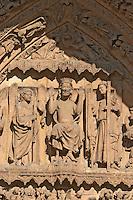 Santa Maria de Regla cathedral details on entrance Plaza de Regla , Leon spain castile and leon