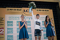 white jersey / best young rider Simon Yates (GBR/Orica-Scott) on the podium<br /> <br /> 104th Tour de France 2017<br /> Stage 15 - Laissac-Sévérac l'Église › Le Puy-en-Velay (189km)
