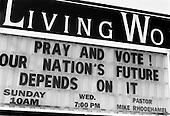 Wilmington, Ohio.USA.October 25, 2004..Church sign