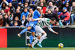 Damian Suarez of Getafe CF (L) fights for the ball with Enrique Garcia of SD Eibar (R) during the La Liga 2017-18 match between Getafe CF and SD Eibar at Coliseum Alfonso Perez Stadium on 09 December 2017 in Getafe, Spain. Photo by Diego Souto / Power Sport Images