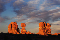 Balanced Rock and Garden of Eden at sunset, Arches National Park, Utah, USA