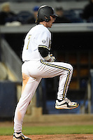 Vanderbilt Commodores infielder Dansby Swanson (7) celebrates scoring the game tying run during a game against the Indiana State Sycamores on February 20, 2015 at Charlotte Sports Park in Port Charlotte, Florida.  Vanderbilt defeated Indiana State 3-2.  (Mike Janes/Four Seam Images)