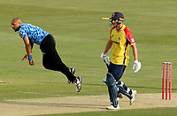 Tymal Mills of Sussex in bowling action during Essex Eagles vs Sussex Sharks, Vitality Blast T20 Cricket at The Cloudfm County Ground on 15th June 2021