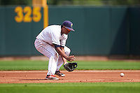 Cedar Rapids Kernels second baseman Luis Arraez (2) fields a ground ball during a game against the Dayton Dragons on July 24, 2016 at Perfect Game Field in Cedar Rapids, Iowa.  Cedar Rapids defeated Dayton 10-6.  (Mike Janes/Four Seam Images)