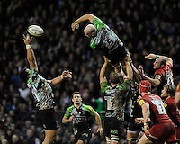 A long lineout ball misses George Robson of Harlequins (right) but is collected by Maurie Fa'asavalu of Harlequins during the Aviva Premiership match between Harlequins and Saracens at Twickenham on Tuesday 27 December 2011 (Photo by Rob Munro)