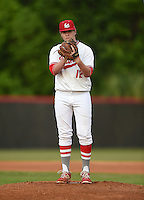 Lake Mary Rams pitcher Nikolas Kovach (12) during a game against the Lake Brantley Patriots on April 2, 2015 at Allen Tuttle Field in Lake Mary, Florida.  Lake Brantley defeated Lake Mary 10-5.  (Mike Janes/Four Seam Images)