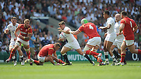 George Ford of England breaks in midfield past Jake Ball of Wales during the Old Mutual Wealth Cup match between England and Wales at Twickenham Stadium on Sunday 29th May 2016 (Photo: Rob Munro/Stewart Communications)