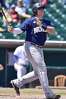 Justin Bour (41) of the New Orleans Zephyrs swings at pitch against the Iowa Cubs at Principal Park on April 23, 2015 in Des Moines, Iowa.  The Zephyrs won 9-2.  (Dennis Hubbard/Four Seam Images)