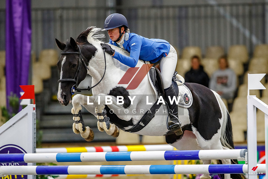 NZL-Megan Bradley rides My Dream Catcher. Class 28: Trev Terry Marine Pony 1.15m-1.20m - FINAL. 2021 NZL-Easter Jumping Festival presented by McIntosh Global Equestrian and Equestrian Entries. NEC Taupo. Sunday 4 April. Copyright Photo: Libby Law Photography