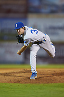 Burlington Royals relief pitcher Zack Phillips (34) follows through on his delivery against the Pulaski Yankees at Calfee Park on August 31, 2019 in Pulaski, Virginia. The Yankees defeated the Royals 6-0. (Brian Westerholt/Four Seam Images)