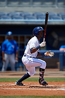 Charlotte Stone Crabs Vidal Brujan (2) bats during a Florida State League game against the Dunedin Blue Jays on April 17, 2019 at Charlotte Sports Park in Port Charlotte, Florida.  Charlotte defeated Dunedin 4-3.  (Mike Janes/Four Seam Images)