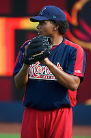 Cedar Rapids Kernels pitcher Eswarlin Jimenez #26 during practice before a game against the Quad Cities River Bandits at Modern Woodmen Park on June 30, 2012 in Davenport, Illinois.  Quad Cities defeated Davenport 8-7.  (Mike Janes/Four Seam Images)