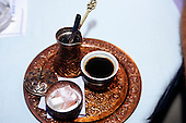 Sarajevo, Bosnia. Turkish coffee served on a copper tray with Turkish Delight.