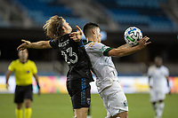 SAN JOSE, CA - SEPTEMBER 16: Felipe Mora #9 of the Portland Timbers & Florian Jungwirth #33 of the San Jose Earthquakes battle for the ball during a game between Portland Timbers and San Jose Earthquakes at Earthquakes Stadium on September 16, 2020 in San Jose, California.