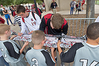 STANFORD, CA - SEPTEMBER 25: Team signing autographs after Stanford defeats Vermont 2-1 in a men's soccer match on September 25, 2011 in Stanford, California.