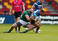 27th March 2021; Brentford Community Stadium, London, England; Gallagher Premiership Rugby, London Irish versus Bath; Ollie Hoskins of London Irish tackles Anthony Watson of Bath