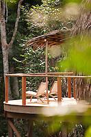 Deckchairs overlooking forest, Ngaga Camp, Odzala-Kokoua National Park.