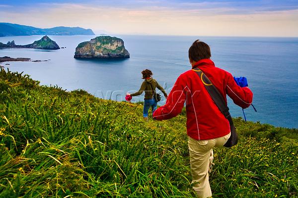 San Juan de Gaztelugatxe and Aketxe island. Bermeo. Coast of Biscay. Urdaibai Region. Bizkaia. Pais Vasco. Basque Country. Spain.