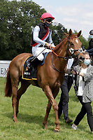 17th May 2020, Cologne, Nordrhein-Westfalen, Germany; No Limit Credit with Clement Lecoeuvre and Trainer Andreas Suborics after the victory in the black-gold race Galopprennbahn