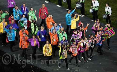 27 JUL 2012 - LONDON, GBR - Competitors from Mexico (MEX) walk around the Olympic Stadium during the Opening Ceremony of the London 2012 Olympic Games in Stratford, London, Great Britain .(PHOTO (C) 2012 NIGEL FARROW)