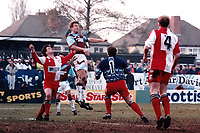 Lee Chapman of West Ham heads the the winning goal during Kidderminster Harriers vs West Ham United, FA Cup Football at the Aggborough Stadium on 19th February 1994