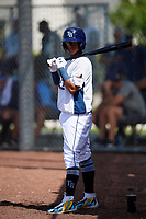 GCL Rays shortstop Jelfry Marte (5) on deck during a game against the GCL Twins on August 9, 2018 at Charlotte Sports Park in Port Charlotte, Florida.  GCL Twins defeated GCL Rays 5-2.  (Mike Janes/Four Seam Images)