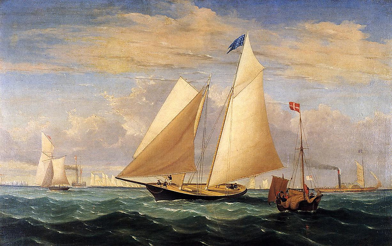The cause of much joy – and grief. The schooner America wins the race around the Isle of Wight 170 years ago