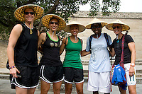 USWNT teammates Nicole Barnhart, Kate Markgraf, Angela Hucles, Briana Scurry, and Aly Wagner pose for a photo while climbing the Great Wall at Badaling near Beijing, China.  The team will spend a few days in the capital before moving to Qinhuangdao for their first two group games of the 2008 Olympics.