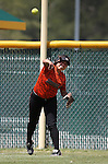Douglas Tigers' Leonna Mortimer makes a play against the Galena Grizzlies in a first round game of the NIAA northern region softball tournament in Reno, Nev., on Thursday, May 15, 2014. <br /> Photo by Cathleen Allison