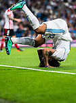 Marcelo Vieira Da Silva of Real Madrid perform a backward roll during the La Liga 2017-18 match between Real Madrid and Athletic Club Bilbao at Estadio Santiago Bernabeu on April 18 2018 in Madrid, Spain. Photo by Diego Souto / Power Sport Images