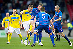 Inverness Caledonian Thistle v St Johnstone...27.10.12      SPL.Steven MacLean is surrounded by Gary Warren, David Raven and Owain Tudur Jones.Picture by Graeme Hart..Copyright Perthshire Picture Agency.Tel: 01738 623350  Mobile: 07990 594431