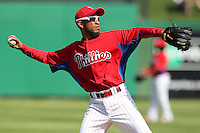 Philadelphia Phillies Wilson Valdez #21 during a scrimmage vs the Florida State Seminoles  at Bright House Field in Clearwater, Florida;  February 24, 2011.  Philadelphia defeated Florida State 8-0.  Photo By Mike Janes/Four Seam Images